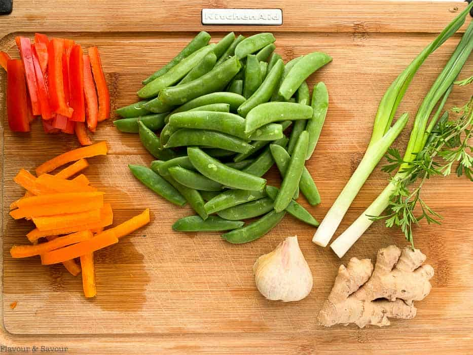 Ingredients for Shrimp and Snow Pea Stir Fry