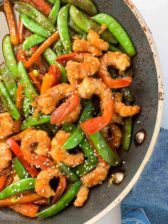 Shrimp and Snow Pea Stir Fry in skillet