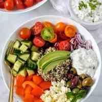 Easy Vegetarian Mediterranean Quinoa Bowl