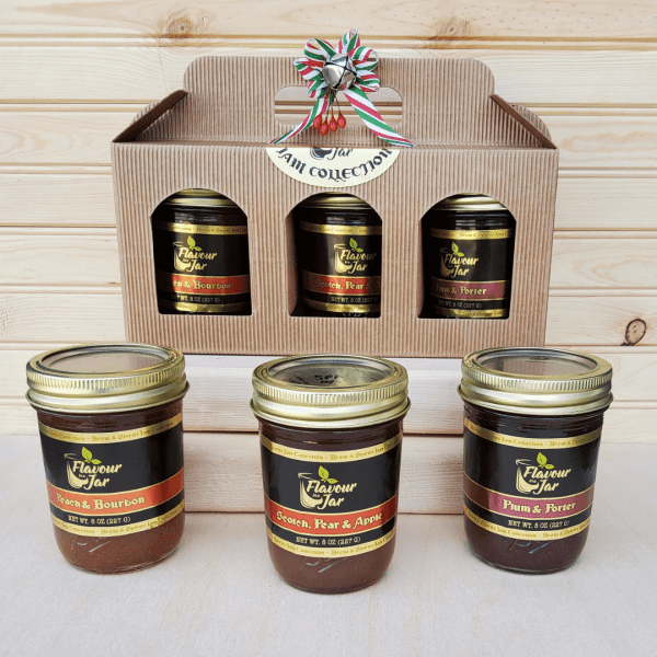 Three pack mix and match variety box of Flavour in a Jar's locally grown and handmade preserves, including unique flavors infused with ales and spirits.