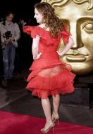 Geri Halliwell's ruffled red dress flapped up at the Children's BAFTAs in 2008, leaving not a very kid-suitable outfit