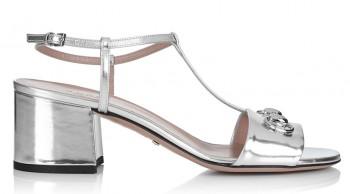 Women's silver block heel T-bar sandals