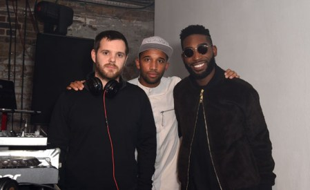 LONDON, ENGLAND - OCTOBER 15: Mike Skinner, DJ Charlesy and Tinie Tempah at smart Disturbs London, a collaboration event by smart & Disturbing London, in Shoreditch last night at Shoreditch Studios on October 15, 2015 in London, England. (Photo by David M. Benett/Dave Benett/Getty Images for smart and Disturbing London) *** Local Caption *** Mike Skinner; DJ Charlesy; Tinie Tempah