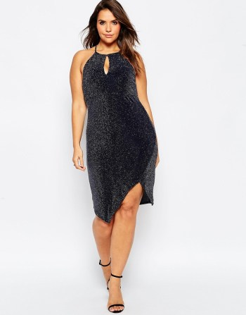 ASOS CURVE 70's Plunge Glitter Bodycon Dress