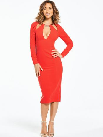 Myleene Klass Metallic Neck Fitted Pencil Dress - Orange