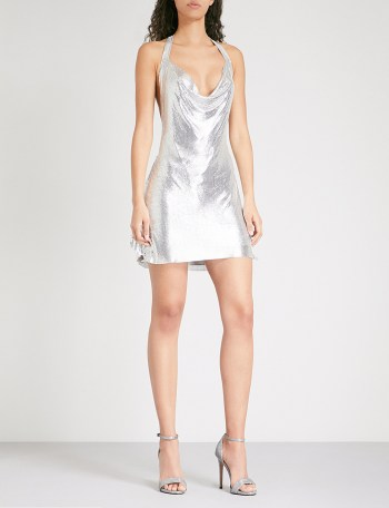 POSTER GIRL Lyra halterneck metal-mesh dress
