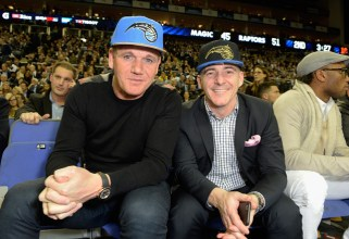LONDON, ENGLAND - JANUARY 14: Gordon Ramsay and guest attend Orlando Magic vs Toronto Raptors NBA Global Game at The O2 Arena on January 14, 2016 in London, England. (Photo by David M. Benett/Dave Benett/Getty Images for NBA)