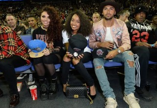 LONDON, ENGLAND - JANUARY 14: Jessy Nelson, Leigh-Anne Pinnock and Jordan Kiffin attend Orlando Magic vs Toronto Raptors NBA Global Game at The O2 Arena on January 14, 2016 in London, England. (Photo by David M. Benett/Dave Benett/Getty Images for NBA)