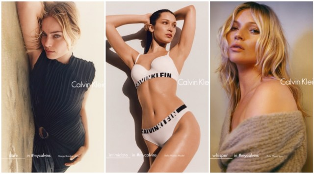Calvin Klein Fall:Winter 2016 Campaign (Pictured Left to Right-) Margot Robbie, Bella Hadid and Kate Moss