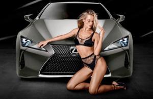 Hannah Ferguson Posing next to the all new Lexus LC 500, Hannah Ferguson models black mesh bikini