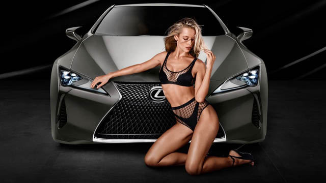 Hannah Ferguson Posing next to the all new Lexus LC 500, Hannah Ferguson models black mesh bikini