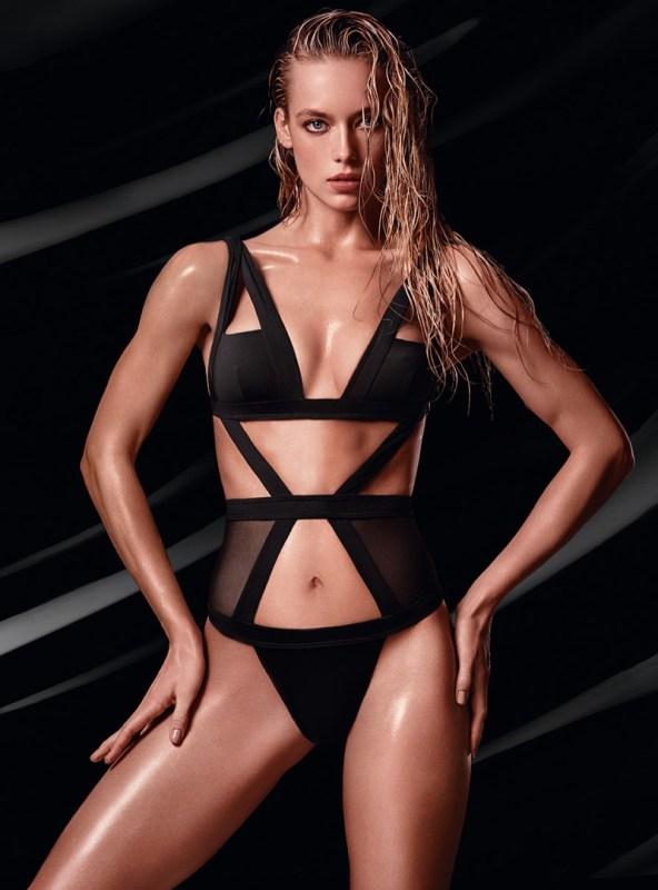 Hannah Ferguson models black bikini with cutouts