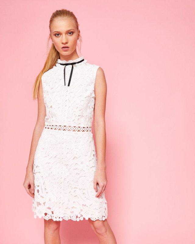OHLIVE Ruffle neck lace shift dress