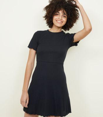 Black Ribbed Button Shoulder Skater Dress