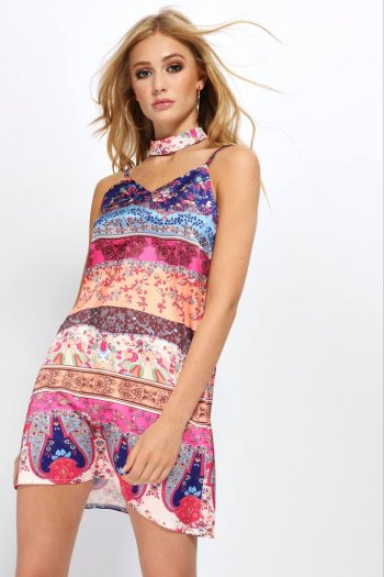 Multi Patterned Choker Slip Dress