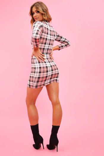Pink Check High Neck Bodycon Dress