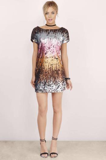 Shine Me Up Sequin Shift Dress