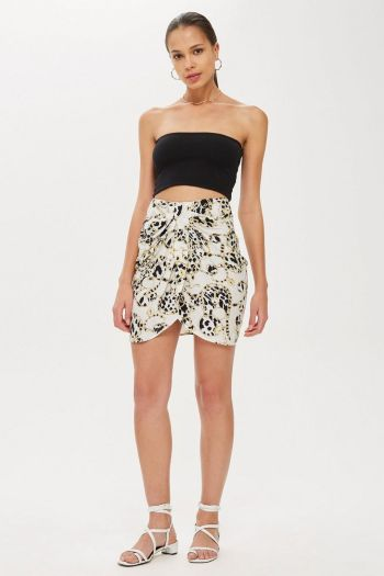 Chain Twist Front Mini Skirt