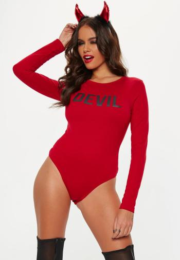 halloween red devil slogan bodysuit