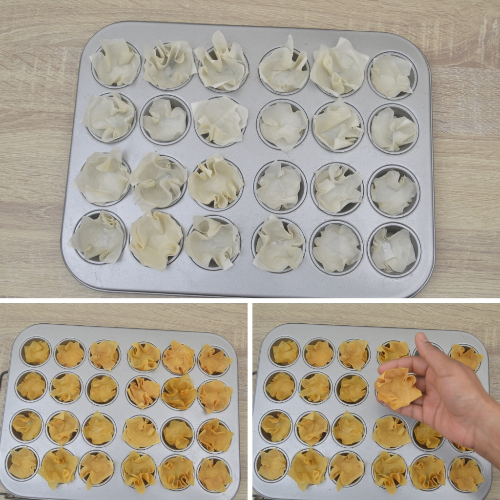 before and after baking pastry cups in muffin tin
