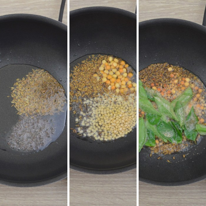 frying mustard cumin curry leaves and dals in a pan