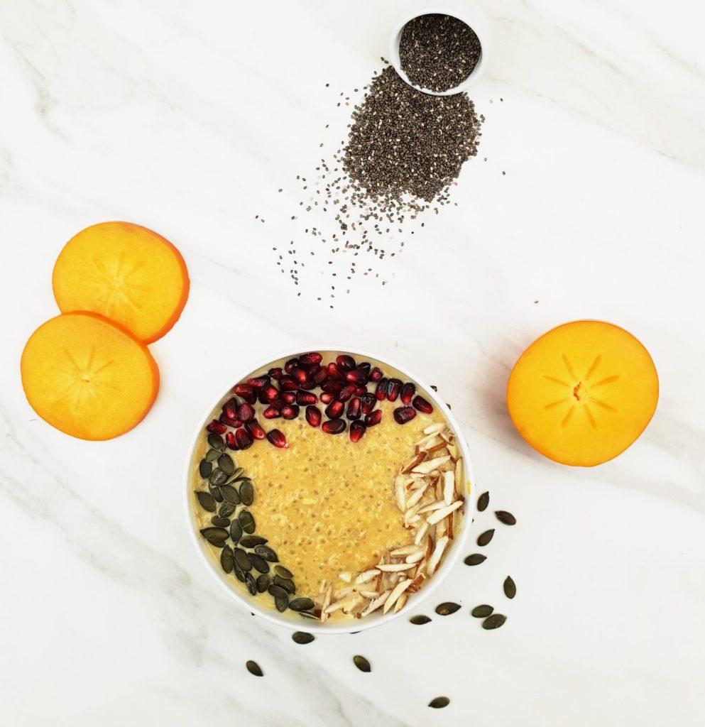 warm chia persimmon porridge