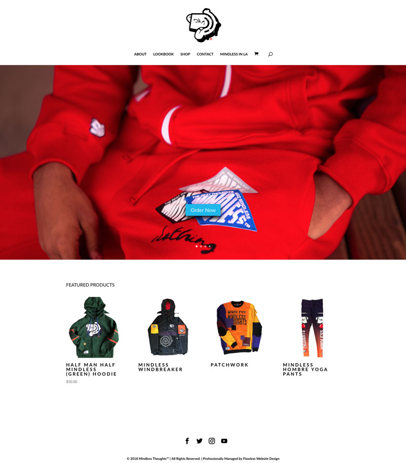 Mindless thoughts custom clothing website design