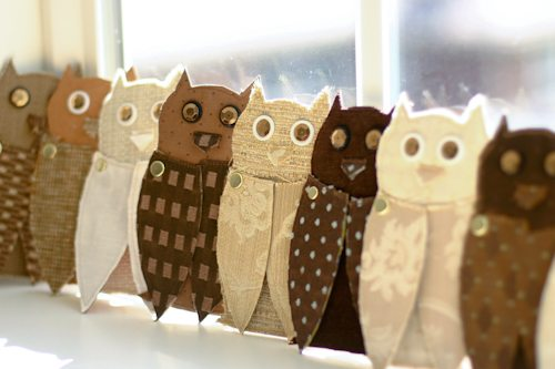 Upcycled Fabric Paper Owls Flax Amp Twine