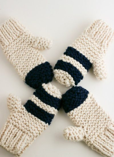 Garter Stitch Chunky Mittens, Striped or Color Block – A Quick Cozy Knit Gift