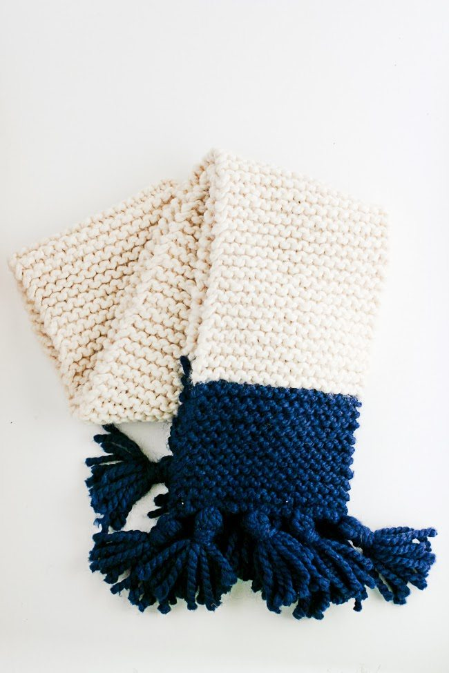 Tasseled Garter Stitch Color Block Scarf Pattern - A Quick Cozy Knit Gift - F...