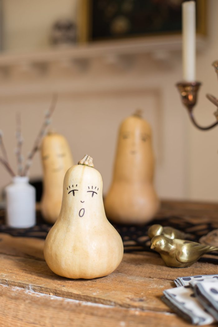 Halloween Butternut Squash People, Flax & Twine