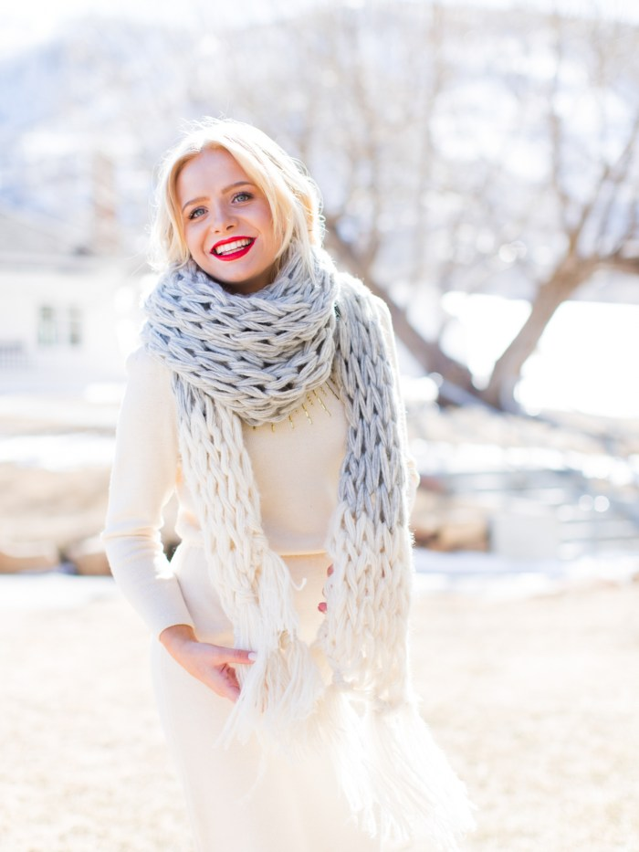 Gorgeous, floaty, arm knit tassel scarf. Pattern available.
