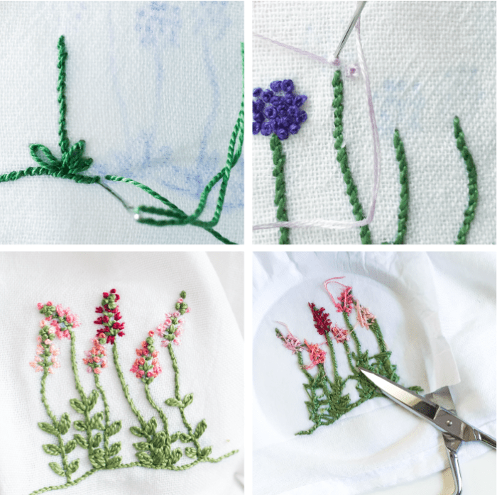 Floral embroidery patterns by Anne Weil of Flax & Twine