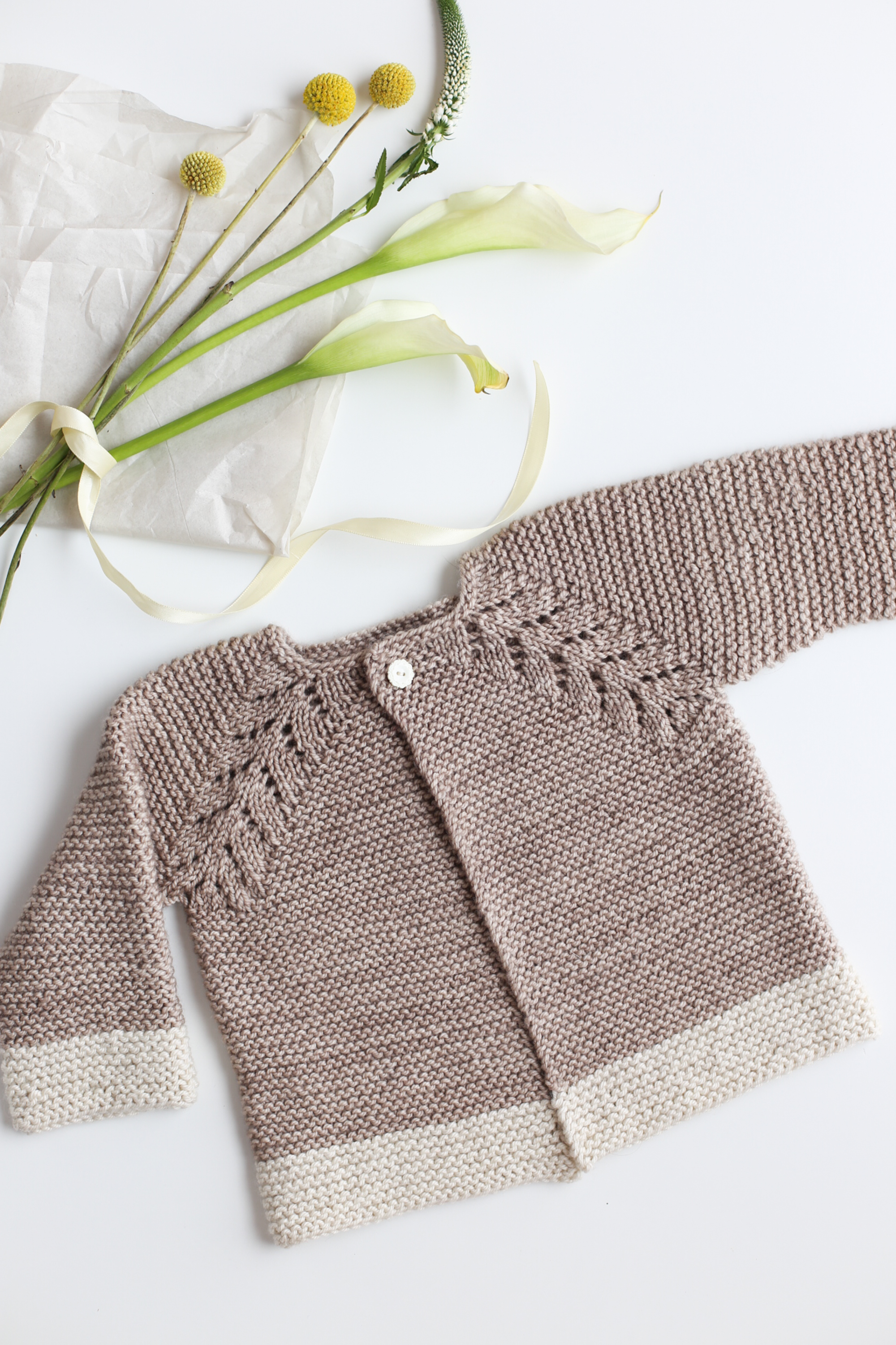 630ef88c3 Lovely Knit Top Down Cardigan Baby Sweater - Flax   Twine