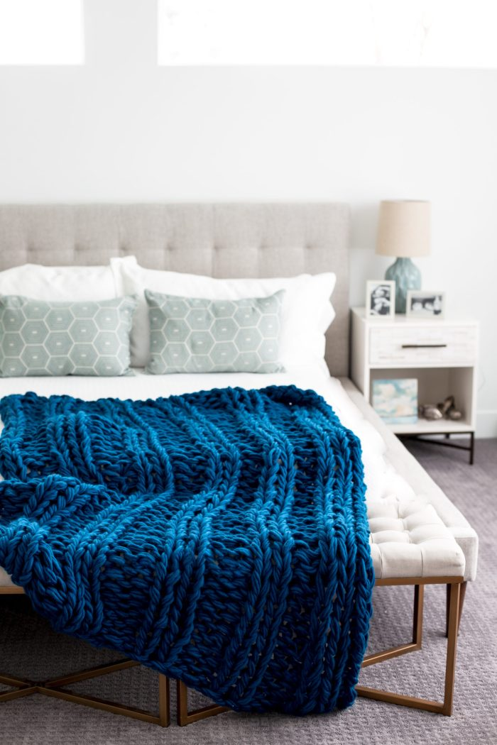 Chunky Arm Knit Ribbed Blanket Pattern by Anne Weil of Flax & Twine