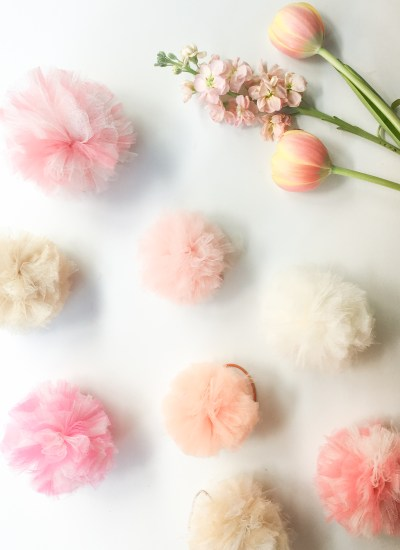 Easy DIY Tulle Pom Pom Hair Bands