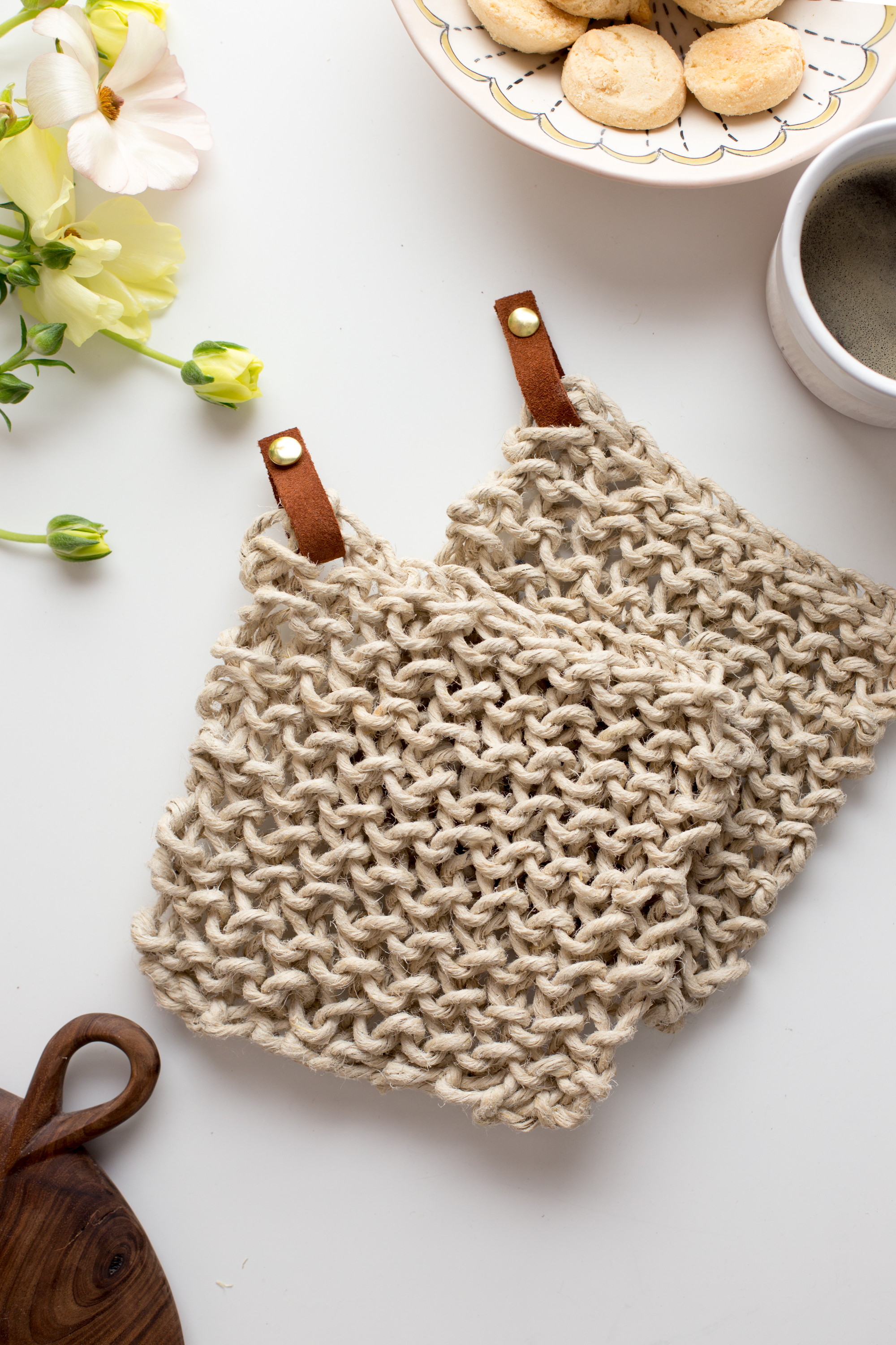 Knit Twine Potholder Pattern with Leather - Flax & Twine