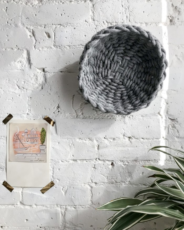 Felted Wool Twined Woven Bowl - Heather