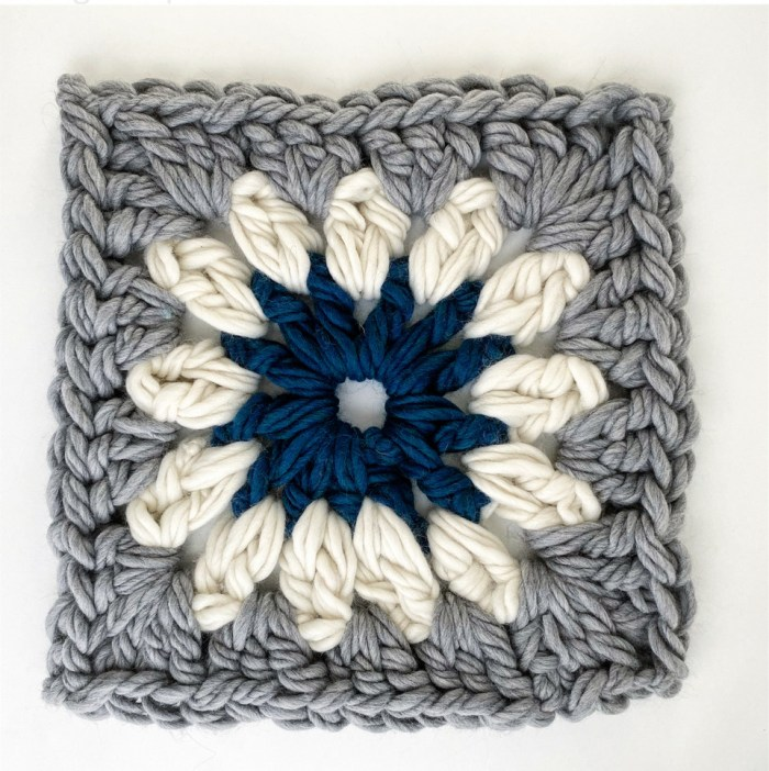 Giant Granny Square Pillow Pattern & Kit - Blue Colorway