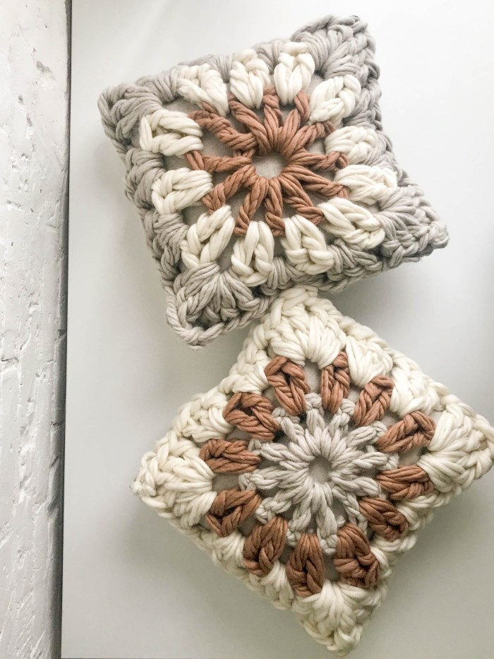 Giant Granny Square Pillow Pattern & Kit