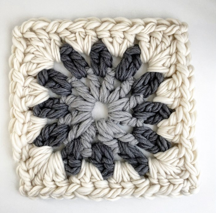 Giant Granny Square Pillow Pattern & Kit - Gray Colorway