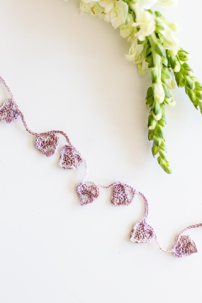 Crocheted Heart Garland in Valdani Embroidery Thread