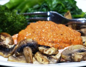 Romesco sauce with fish and veggies