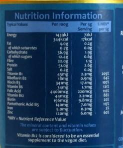 Engevita Yeast flakes nutritional information
