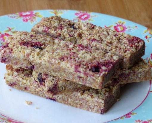 Gluten-free dairy-free mixed berry flaxjacks