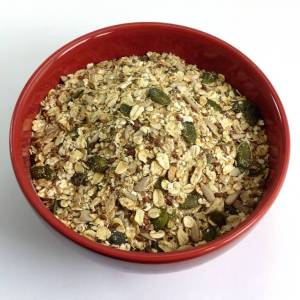 Bowl of Gluten-free Seedy Linseed Porridge/Muesli