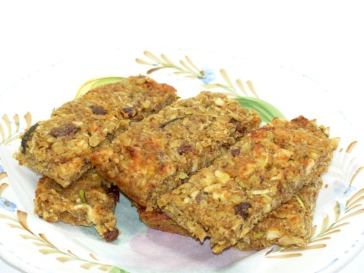 Courgette and Apple Luxury Apricot, Orange and Pumpkin Seed Linseed Flaxjacks Gluten-free Flapjacks
