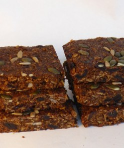 Linseed Fruitcake Flaxjacks. Vegan. dairy-free, gluten-free, sugar-free, saturated-fat free, egg-free, nut-free.