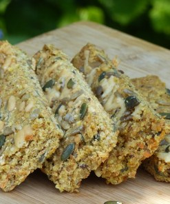 Cheese & carrot Flaxjacks lovely savoury gluten-free, wheat-free snacks.