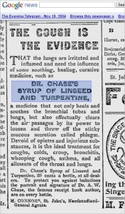 Linseed and turpentine cough medicine from Evening Telegram St John's Newfoundland circe 1945